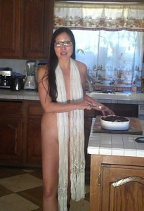 Cooking in her scarf